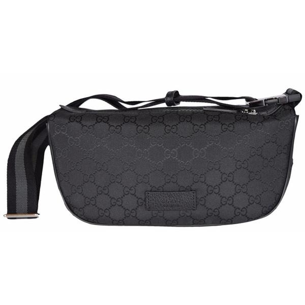 55b9ea0c807a78 Gucci 449182 Black Nylon GG Guccissima Web Stripe Fanny Pack Waist Sling Bag