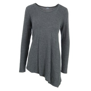Three Dots Womens Tunic Sweater Heathered Asymmetric Hem