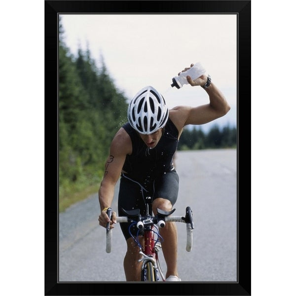 """Cyclist, Vancouver, British Columbia, Canada"" Black Framed Print"