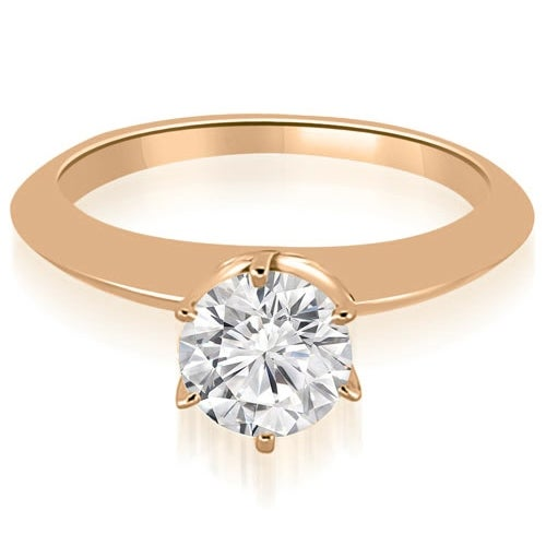 1.00 cttw. 14K Rose Gold Knife Edge Round Cut Solitaire Engagement Ring