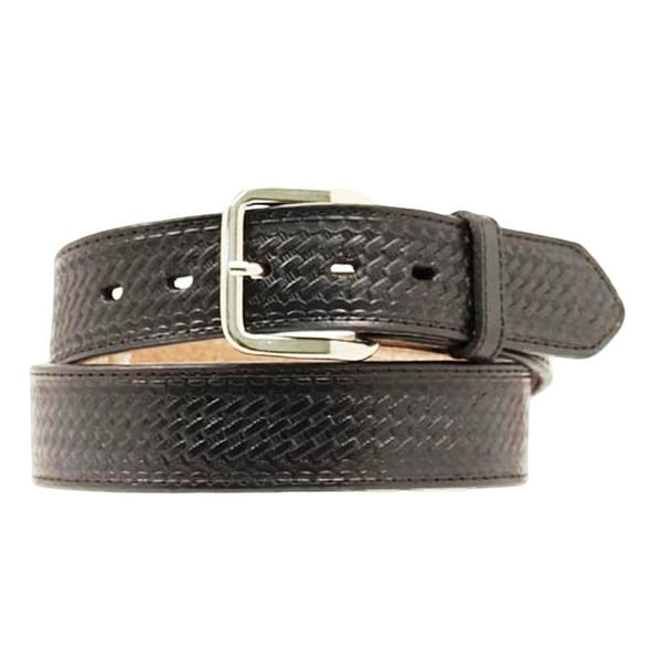 Nocona Western Belt Mens Basket Weave Leather Black