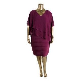 Adrianna Papell Womens Plus Chiffon Cape Sleeve Cocktail Dress