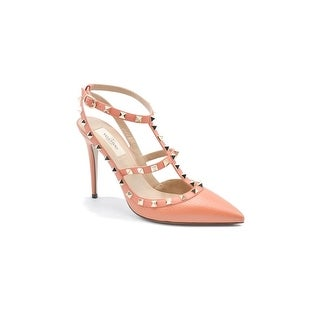 Valentino Womens Classic Coral Peach Rockstud Ankle Strap Pumps Size 38 / 8