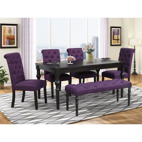 Leviton Urban Style Dark Wash Wood Dining Set: Table, 4 Chairs and Bench