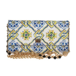Dolce & Gabbana Purse Majolica Print Dauphine Leather Shoulder Clutch