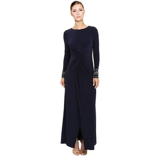Vince Camuto Beaded Long Sleeve Front Slit Evening Gown Dress