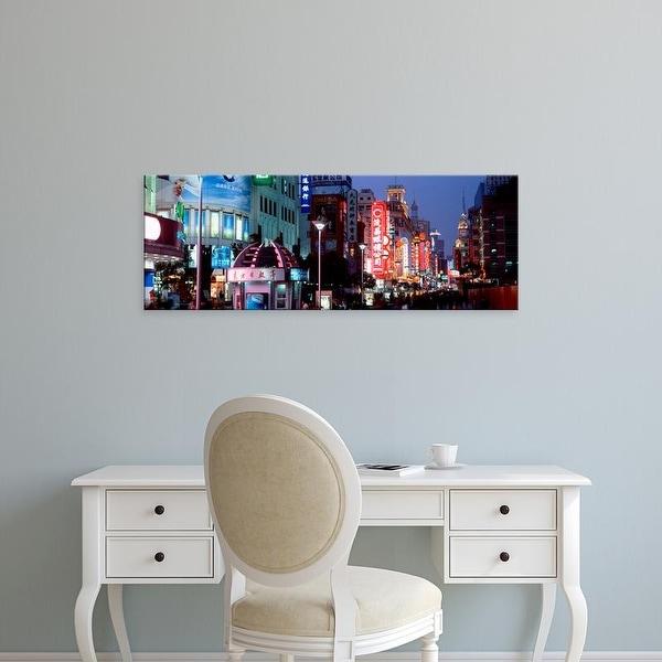 Easy Art Prints Panoramic Images's 'Signboards in a street lit up at dusk, Nanjing Road, Shanghai, China' Canvas Art