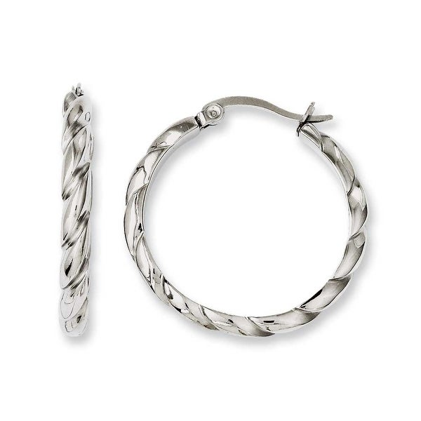 Chisel Stainless Steel Polished & Textured Hoop Earrings