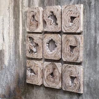 Uttermost Bahati Natural and White Washed Wood Wall Art (Set of 9) - 16 x 16