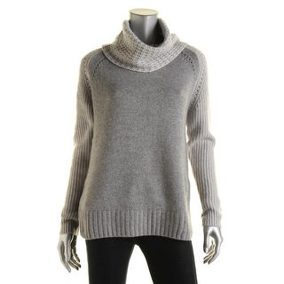 Autumn Cashmere Womens Cowl Neck Two Tone Pullover Sweater