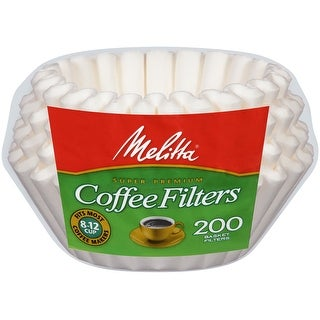 Melitta 8-12 Cup Basket Coffee Filters, White, 200 Count