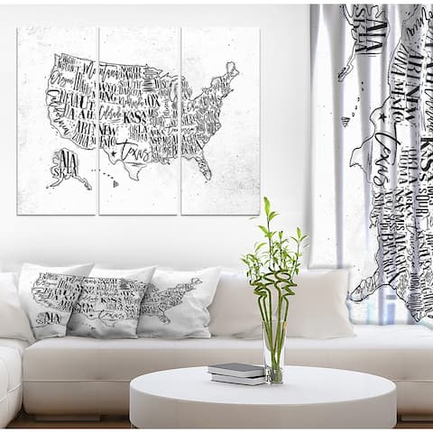 Designart 'United States Vintage Map in Dirty Paper' Maps Print on Wrapped Canvas set - 36x28 - 3 Panels