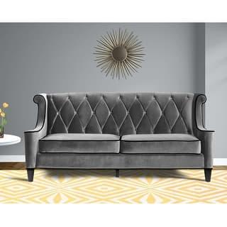 Armen Living Barrister Modern Grey Velvet Sofa