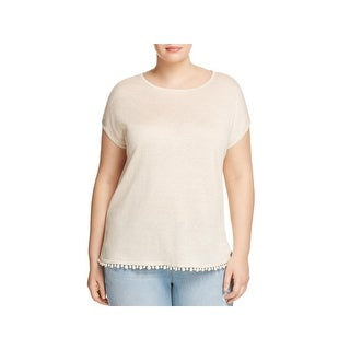 Nic + Zoe Womens Plus Pullover Top Linen Pom Pom (3 options available)