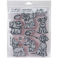 "Tim Holtz Cling Stamps 7""X8.5""-Crazy Dogs"