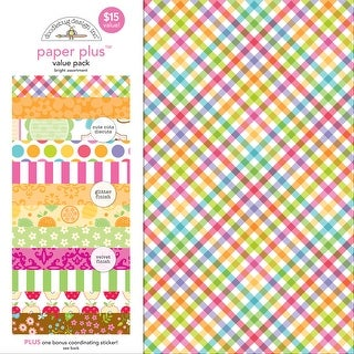 "Doodlebug Paper Plus Value Pack 12""X12"" 8/Pkg-Bright"