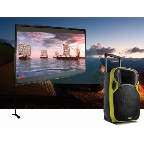 """QFX 12"""" Mobile Theatre Projection Speaker with Mic and Stand"""