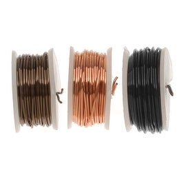 Artistic Wire, 3 Pack Craft Wire Assortment - Black, Copper, Ant. Brass 20 GA (9 Yds)