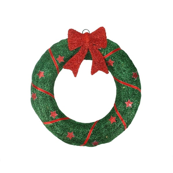"""18"""" Lighted Sisal Wreath with Stars and Bow Christmas Outdoor Decoration - RED"""