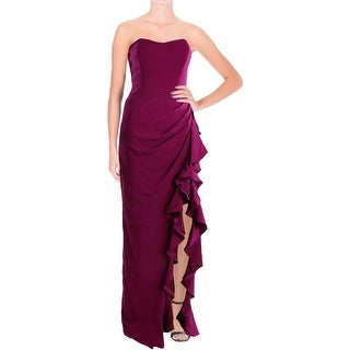 Badgley Mischka Womens Silk Trim Prom Evening Dress