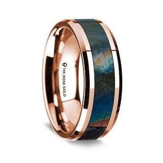 14K Rose Gold Polished Beveled Edges Wedding Ring With Spectrolite Inlay 8 Mm