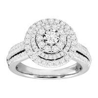 780b12f5e2237 Shop 10kt White Gold Womens Diamond Concentric Cluster Bridal ...