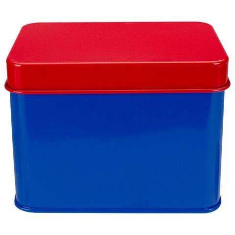 """6.5"""" Red and Blue Tin Recipe Box"""