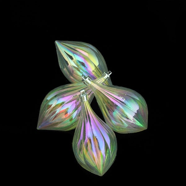 """4ct Clear Iridescent Shatterproof Finial Christmas Ornaments 5"""""""