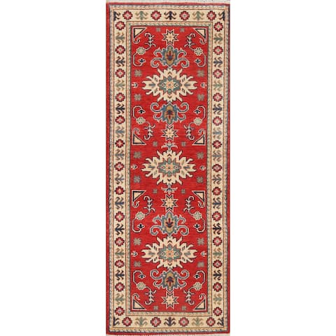 "Geometric Oriental Kazak Wool Runner Rug Hand-knotted Hallway Carpet - 1'10"" x 5'9"""