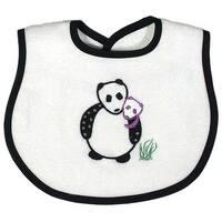 Raindrops Unisex Baby Panda Appliqued Bib, Black - One size