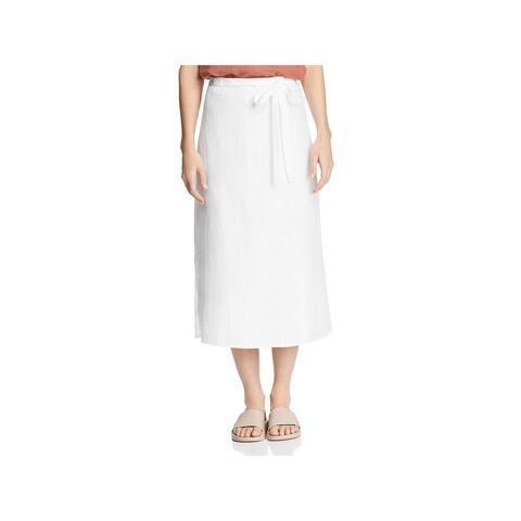 Eileen Fisher Womens Midi Skirt Linen Faux Wrap