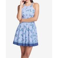Guess Blue Women's Size 10 Floral Striped A-Line Sheath Dress