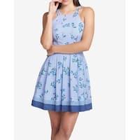 Guess Blue Women's Size 12 Floral Striped A-Line Sheath Dress