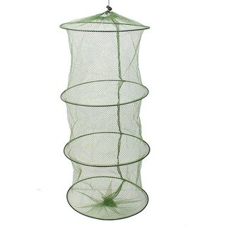 Collapsible 3 Sections Crab Fish Crayfish Shrimp Eel Nylon Fishing Net Cage 70cm