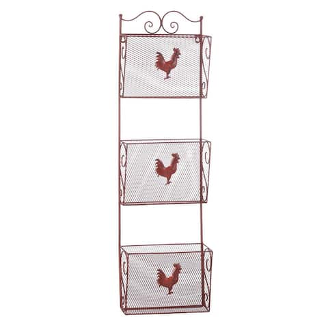 Red Rooster Three-Tier Metal Wall Rack