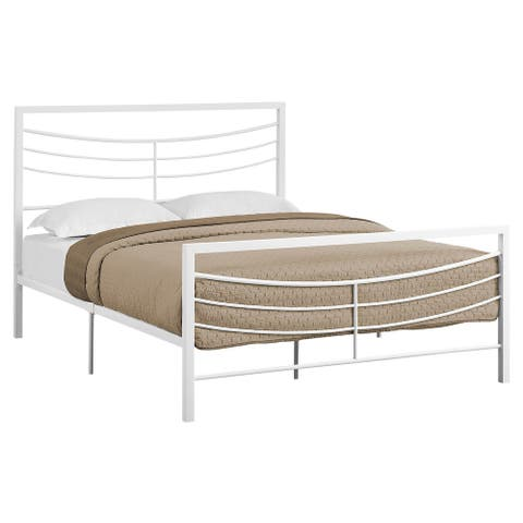 Offex Contemporary Bed - Queen Size - White Metal Frame Only