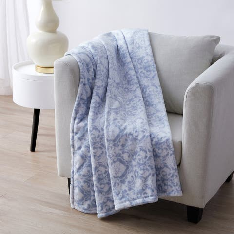 Tahari Home Reose Blue Damask Printed Plush Throw