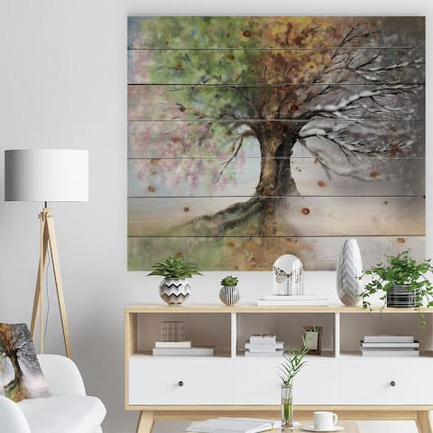 Designart 'Tree with Four Seasons' Tree Painting Print on Natural Pine Wood - Green