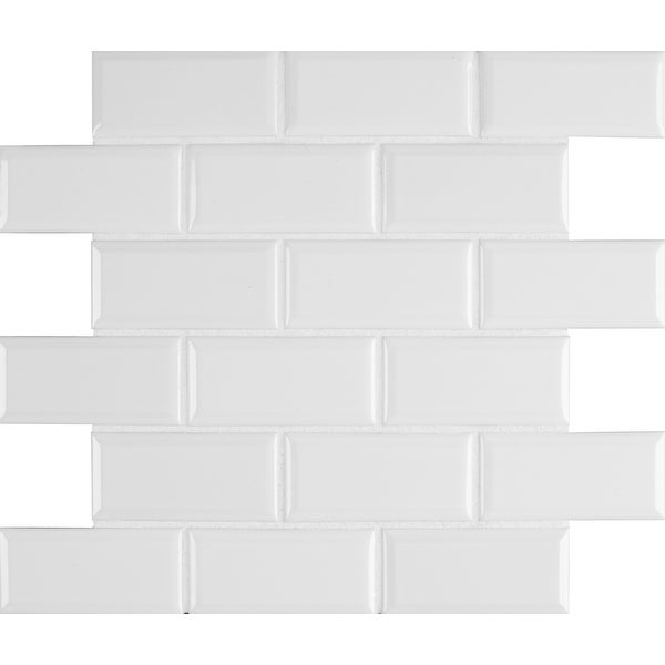 "MSI SMOT-PT-2X4B 2"" x 4"" Brick Joint Mosaic Tile - Glossy Porcelain Visual - Sold by Carton (13.35 SF/Carton)"