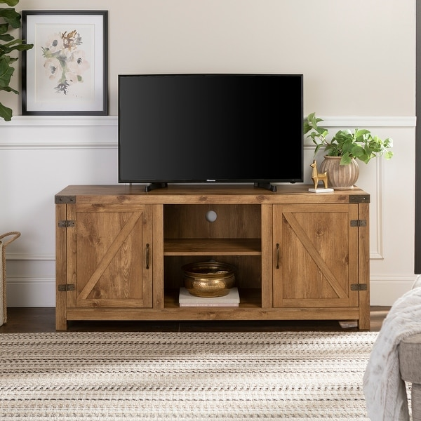 The Gray Barn Firebranch 58-inch Barn Door TV Console. Opens flyout.