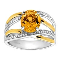 2 1/5 ct Natural Citrine & 1/8 ct Diamond Ring in Sterling Silver & 14K Gold - Yellow