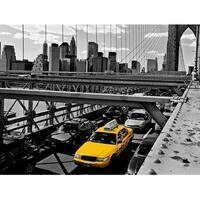 ''Yellow Cab on Brooklyn Bridge'' by Henri Silberman Transportation Art Print (23.5 x 31.5 in.)