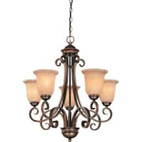 Dolan Designs 2090 Medici 5 Light Single Tier Chandelier with Mojave Glass - Gold