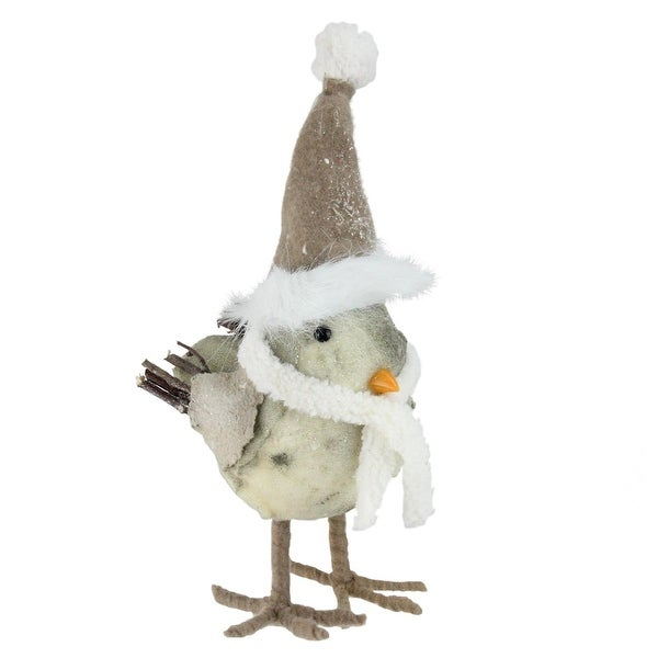 "10"" Standing Bird in Scarf and Santa Hat Christmas Decoration - WHITE"