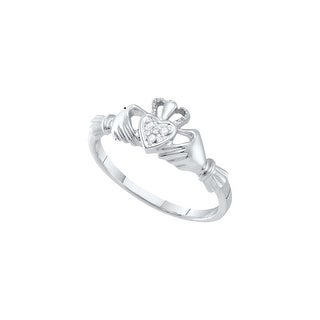 10k White Gold Diamond Womens Small Dainty Claddagh Engagement Wedding Bridal Ring .01 Cttw