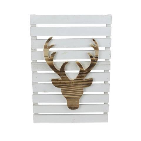 "15.75"" Wood Deer on White Pallet Inspired Frame Christmas Wall Hanging"