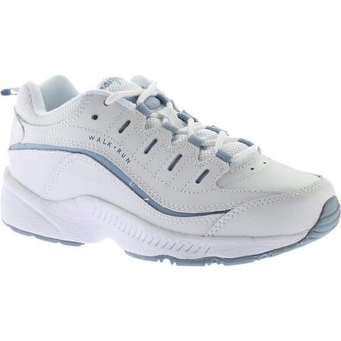 Easy Spirit Women's Romy Walking Shoe White/Medium Blue Leather