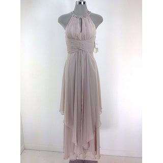 Women's Eliza J Embellished Tiered Chiffon Halter Gown, Beige, 8