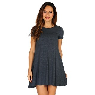 Women's Casual T-shirt Short Sleeve Dress with Pocket (Size: Small - 3X)