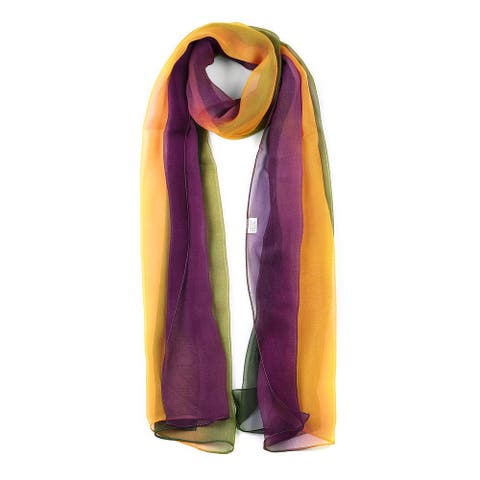 Long Chiffon Lightweight Gradient Color Scarf For Green/Yellow/Purple - Green Yellow Purple